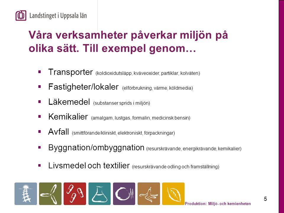 Produktion: Miljö- och kemienheten 6 Sveriges miljökvalitetsmål - grunden för landstingets och Kollektivtrafikförvaltningens miljömål  Begränsad klimatpåverkan  Frisk luft  Giftfri miljö  Grundvatten av god kvalitet  God bebyggd miljö …är exempel på några av Sveriges miljömål.