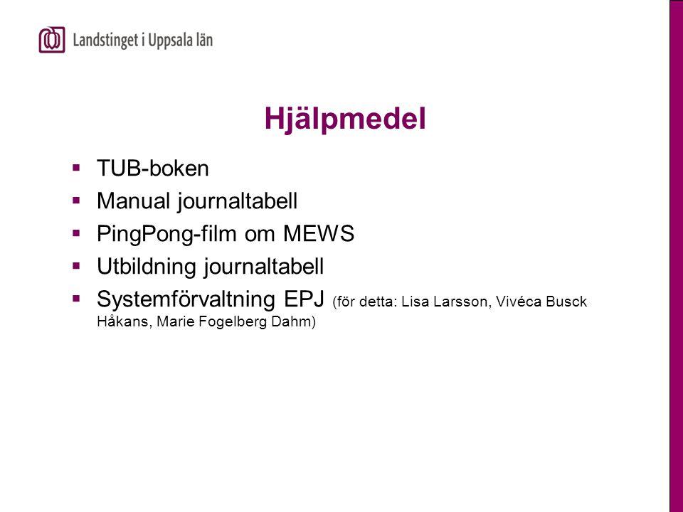 Hjälpmedel  TUB-boken  Manual journaltabell  PingPong-film om MEWS  Utbildning journaltabell  Systemförvaltning EPJ (för detta: Lisa Larsson, Viv
