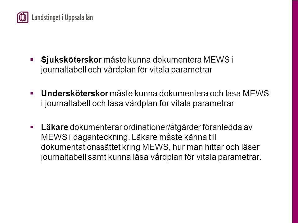  Sjuksköterskor måste kunna dokumentera MEWS i journaltabell och vårdplan för vitala parametrar  Undersköterskor måste kunna dokumentera och läsa ME