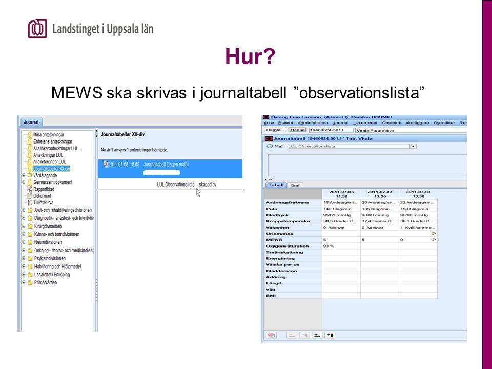 """Hur? MEWS ska skrivas i journaltabell """"observationslista"""""""