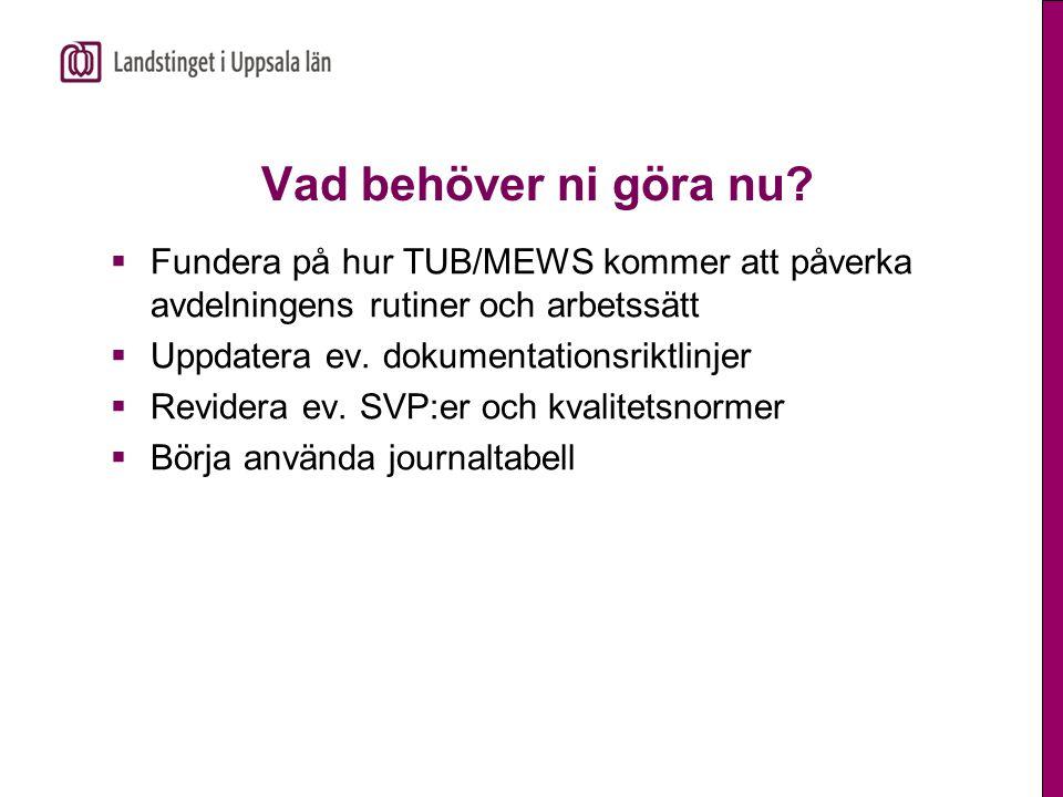 Vad behöver ni göra nu?  Fundera på hur TUB/MEWS kommer att påverka avdelningens rutiner och arbetssätt  Uppdatera ev. dokumentationsriktlinjer  Re