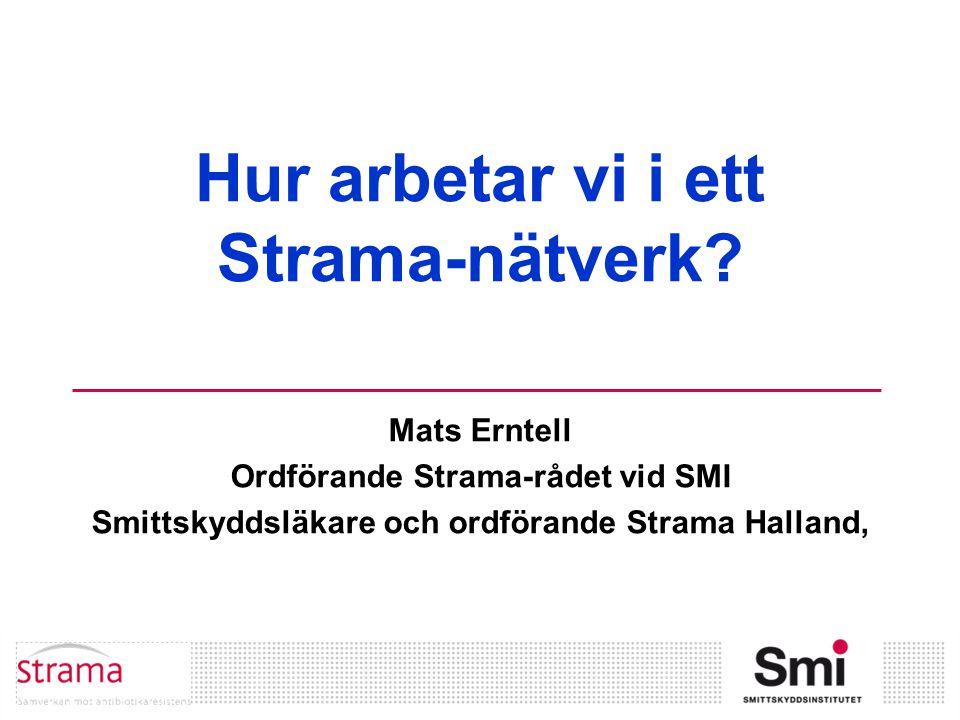 Hur arbetar vi i ett Strama-nätverk? Mats Erntell Ordförande Strama-rådet vid SMI Smittskyddsläkare och ordförande Strama Halland,