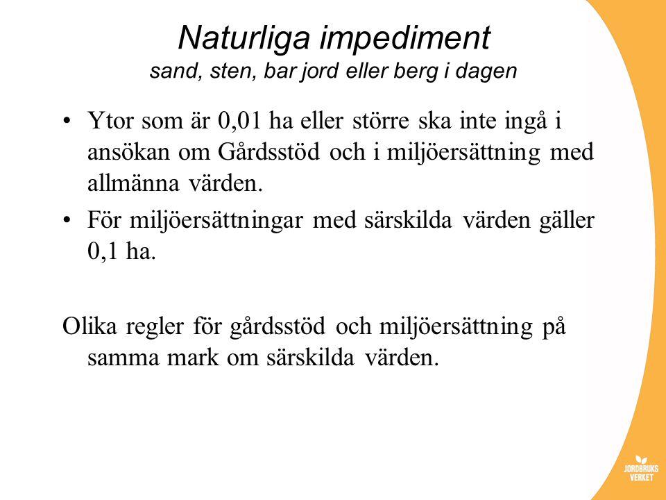 Naturliga impediment sand, sten, bar jord eller berg i dagen Ytor som är 0,01 ha eller större ska inte ingå i ansökan om Gårdsstöd och i miljöersättni