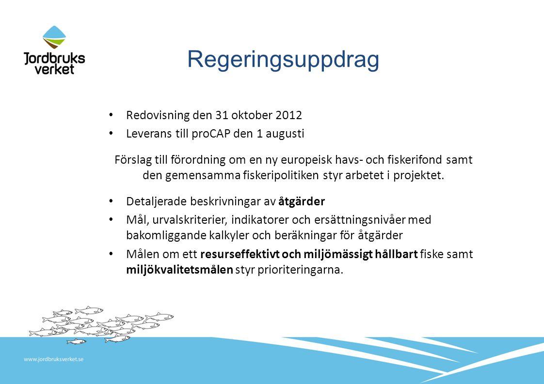 Regeringsuppdrag Redovisning den 31 oktober 2012 Leverans till proCAP den 1 augusti Förslag till förordning om en ny europeisk havs- och fiskerifond samt den gemensamma fiskeripolitiken styr arbetet i projektet.