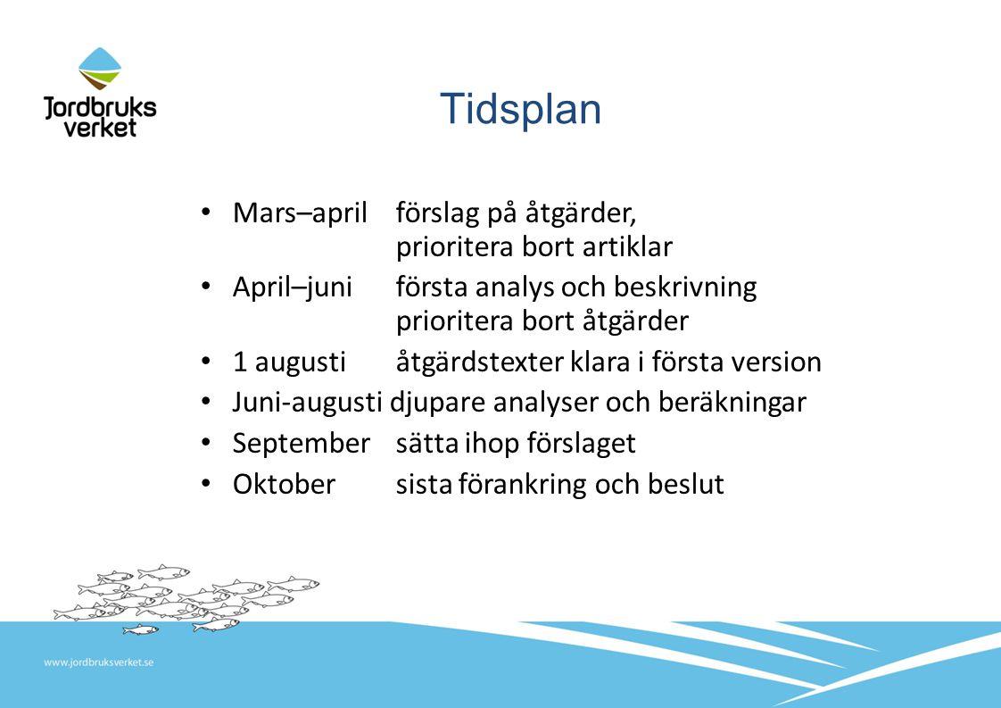 Tidsplan Mars–april förslag på åtgärder, prioritera bort artiklar April–juniförsta analys och beskrivning prioritera bort åtgärder 1 augustiåtgärdstexter klara i första version Juni-augusti djupare analyser och beräkningar September sätta ihop förslaget Oktober sista förankring och beslut