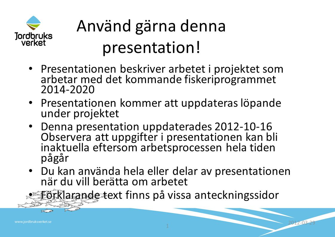 Projekt Tuff Tekniskt underlag för havs- och fiskeriprogrammet 2014-2020