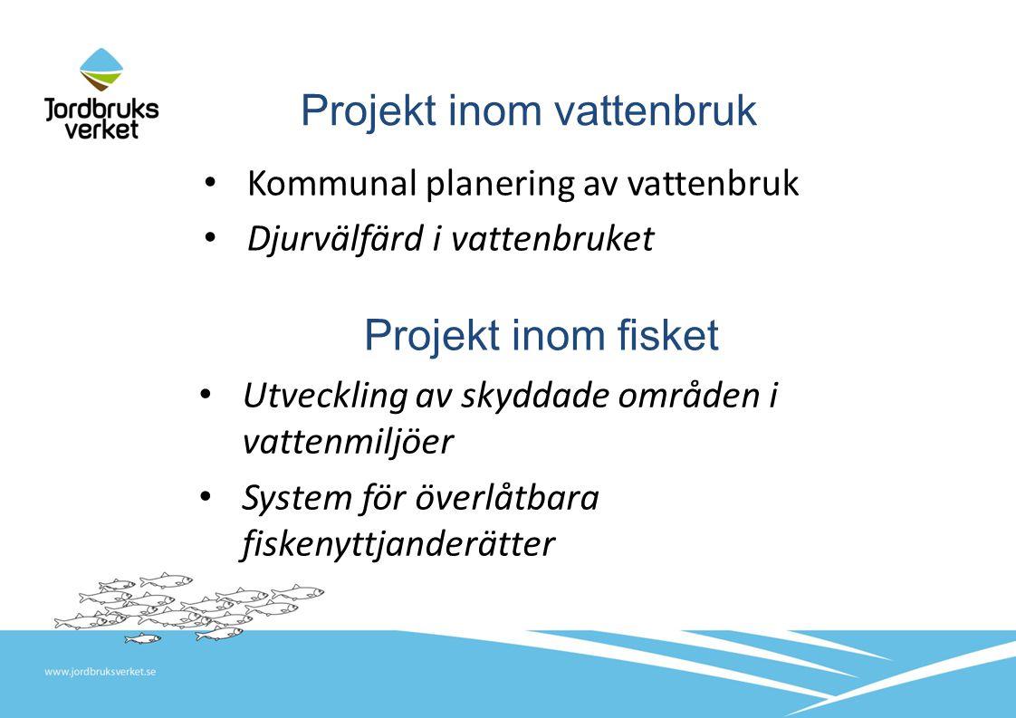 Projekt inom vattenbruk Kommunal planering av vattenbruk Djurvälfärd i vattenbruket Projekt inom fisket Utveckling av skyddade områden i vattenmiljöer System för överlåtbara fiskenyttjanderätter