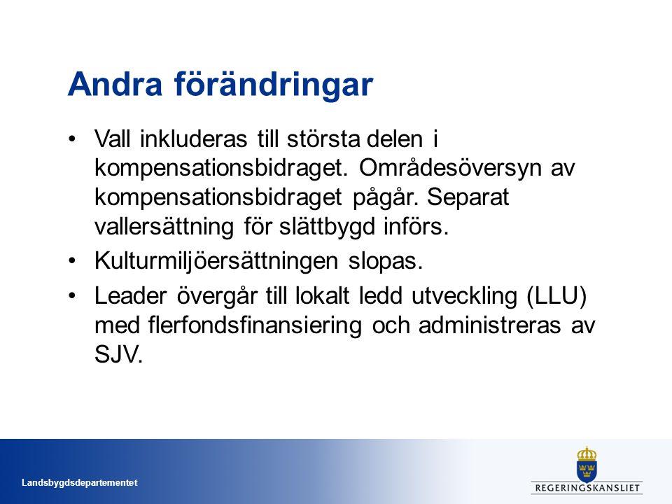 Landsbygdsdepartementet Andra förändringar Vall inkluderas till största delen i kompensationsbidraget. Områdesöversyn av kompensationsbidraget pågår.