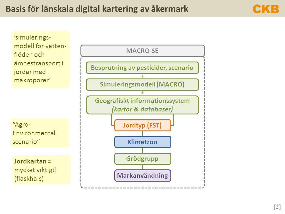[3] Basis för länskala digital kartering av åkermark Soil Map Units (SMU) outline of the European Soil Database (NB: one SMU can have many Soil Type Units) Kartupplösning för Sverige är grov Source: FOOTPRINT 2007.