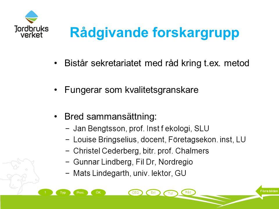 Rådgivande forskargrupp Bistår sekretariatet med råd kring t.ex. metod Fungerar som kvalitetsgranskare Bred sammansättning: −Jan Bengtsson, prof. Inst