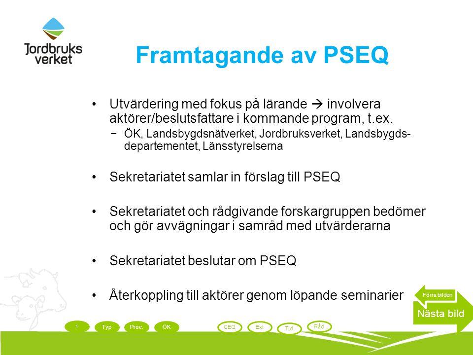 Framtagande av PSEQ Utvärdering med fokus på lärande  involvera aktörer/beslutsfattare i kommande program, t.ex. −ÖK, Landsbygdsnätverket, Jordbruksv