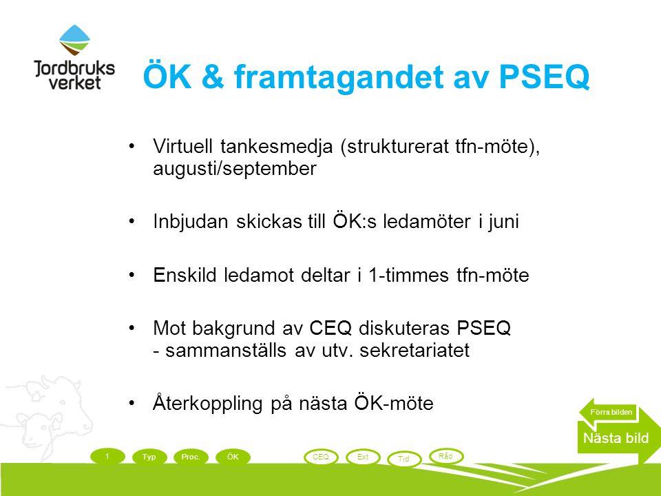 ÖK & framtagandet av PSEQ Virtuell tankesmedja (strukturerat tfn-möte), augusti/september Inbjudan skickas till ÖK:s ledamöter i juni Enskild ledamot