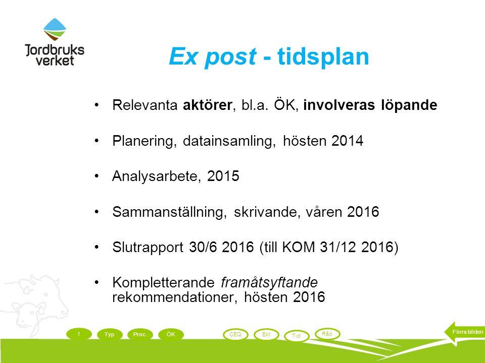 Ex post - tidsplan Relevanta aktörer, bl.a. ÖK, involveras löpande Planering, datainsamling, hösten 2014 Analysarbete, 2015 Sammanställning, skrivande