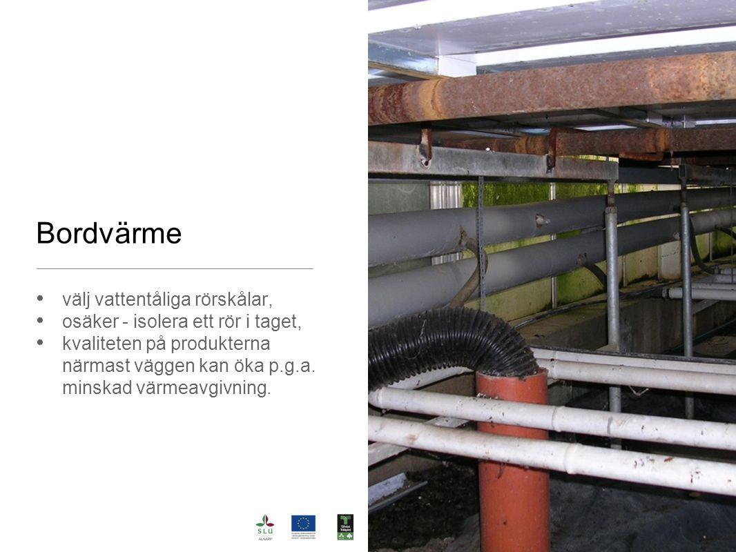Bordvärme välj vattentåliga rörskålar, osäker - isolera ett rör i taget, kvaliteten på produkterna närmast väggen kan öka p.g.a. minskad värmeavgivnin
