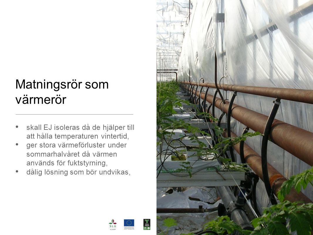 Matningsrör som värmerör skall EJ isoleras då de hjälper till att hålla temperaturen vintertid, ger stora värmeförluster under sommarhalvåret då värme