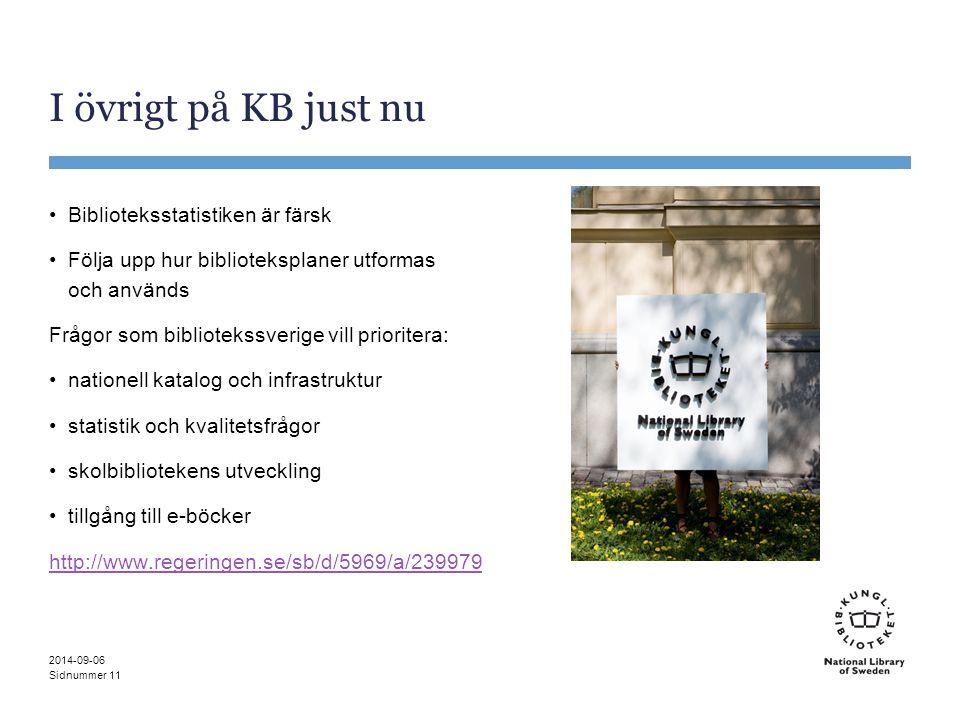 Sidnummer I övrigt på KB just nu Biblioteksstatistiken är färsk Följa upp hur biblioteksplaner utformas och används Frågor som bibliotekssverige vill
