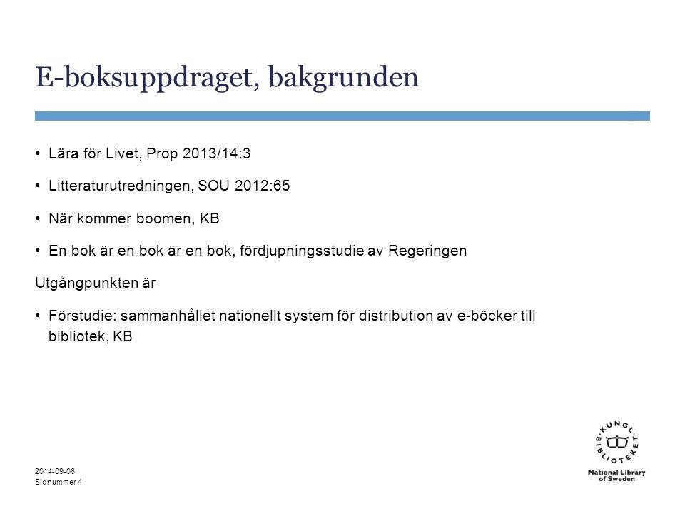 Sidnummer E-boksuppdraget, bakgrunden Lära för Livet, Prop 2013/14:3 Litteraturutredningen, SOU 2012:65 När kommer boomen, KB En bok är en bok är en b