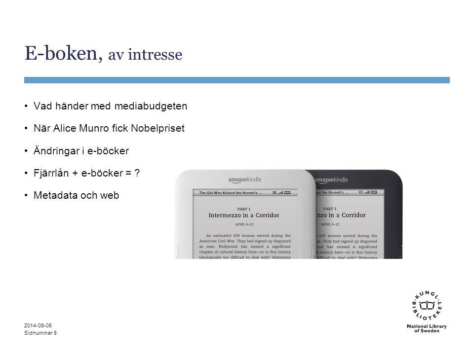 Sidnummer E-boken, av intresse Vad händer med mediabudgeten När Alice Munro fick Nobelpriset Ändringar i e-böcker Fjärrlån + e-böcker = ? Metadata och