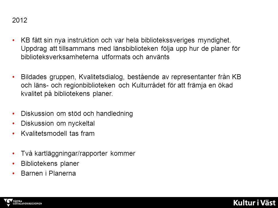 2012 KB fått sin nya instruktion och var hela bibliotekssveriges myndighet. Uppdrag att tillsammans med länsbiblioteken följa upp hur de planer för bi
