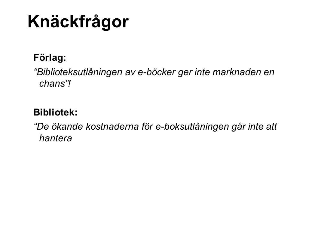 Knäckfrågor Förlag: Biblioteksutlåningen av e-böcker ger inte marknaden en chans .