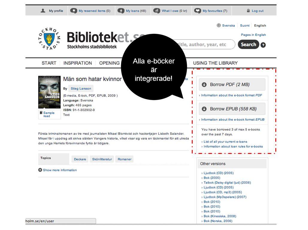 Alla e-böcker är integrerade!