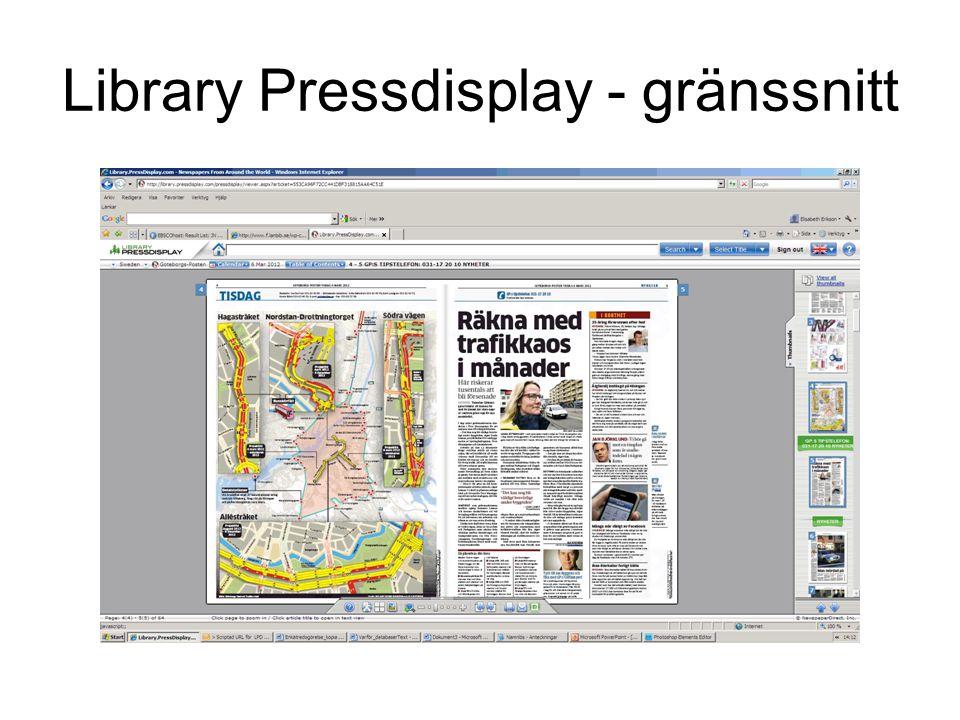 Library Pressdisplay - gränssnitt