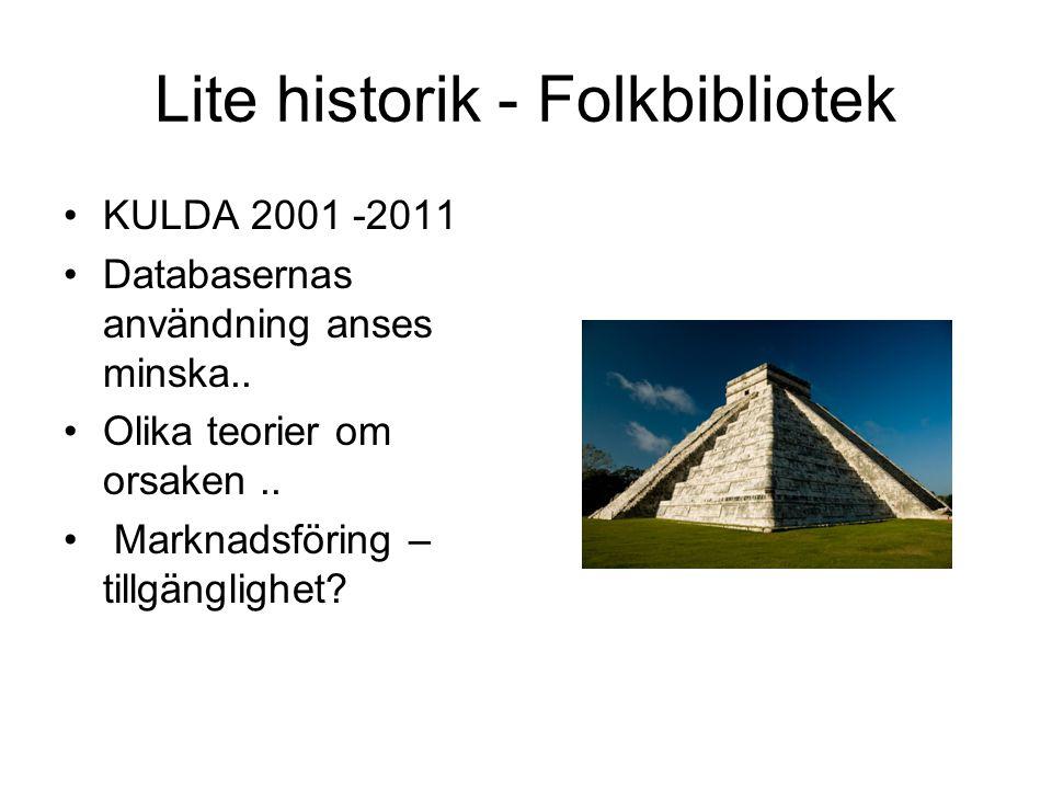 Lite historik - Folkbibliotek KULDA 2001 -2011 Databasernas användning anses minska.. Olika teorier om orsaken.. Marknadsföring – tillgänglighet?