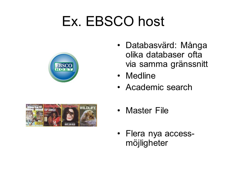 EBSCOhost - gränssnitt