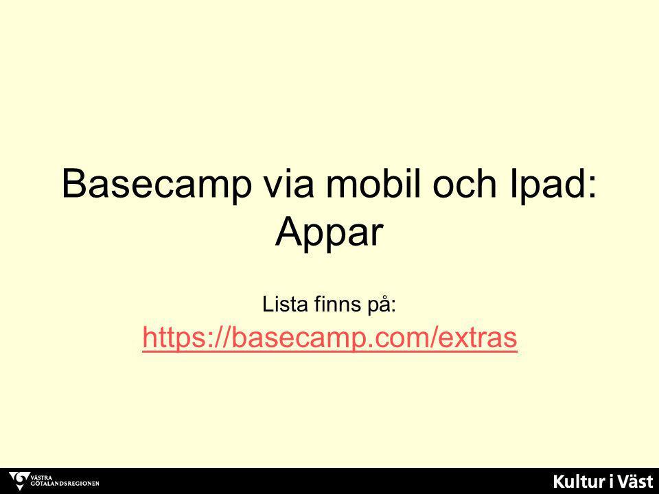 Basecamp via mobil och Ipad: Appar Lista finns på: https://basecamp.com/extras https://basecamp.com/extras