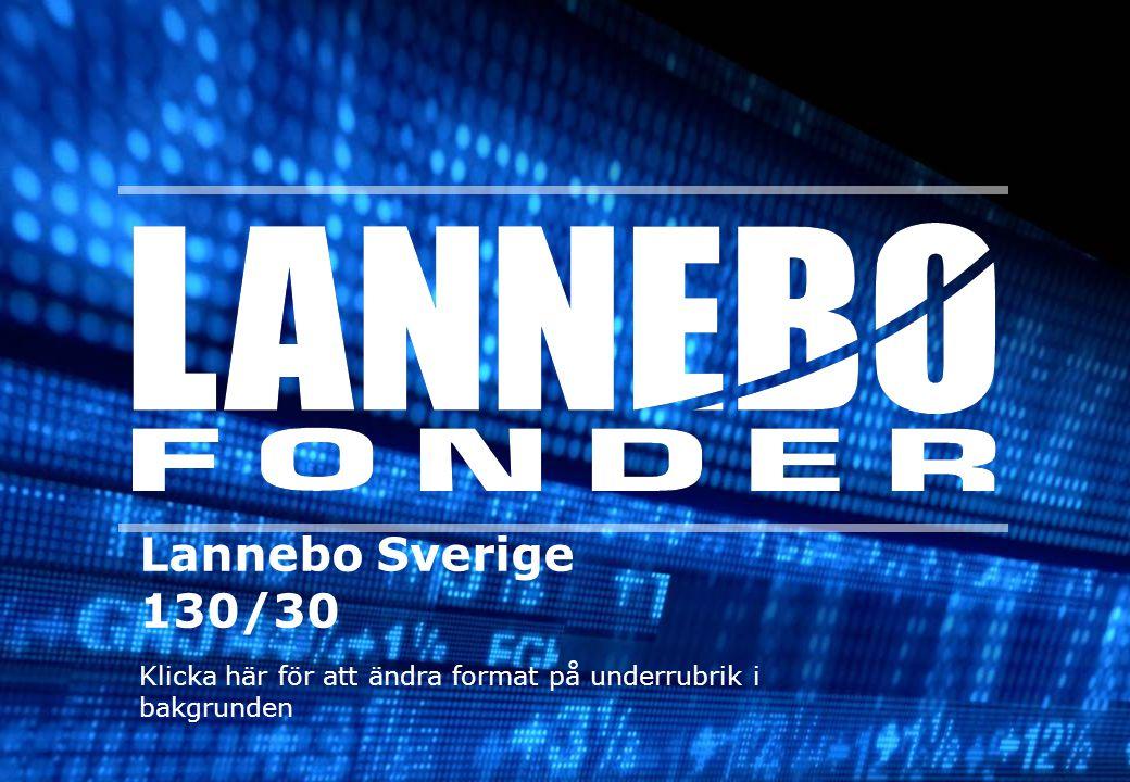 Lannebo Sverige Performance Lars Bergkvist Index Portfölj RelativtVar 2000-2002N/AN/A N/ANordea 2003 29,7%38,2% +8,5%HQ Bank 2004 17,4%19,5% +2,1%HQ Bank 2005 36,7%37,4%+0,7%AMF Pension 200628,7% 30,3%+1,6%AMF Pension 2007N/AN/AN/AAMF/Lannebo 2008-39,1%-35,7%+3,4%Lannebo 200953,3% 56,0%+2,7%Lannebo 21