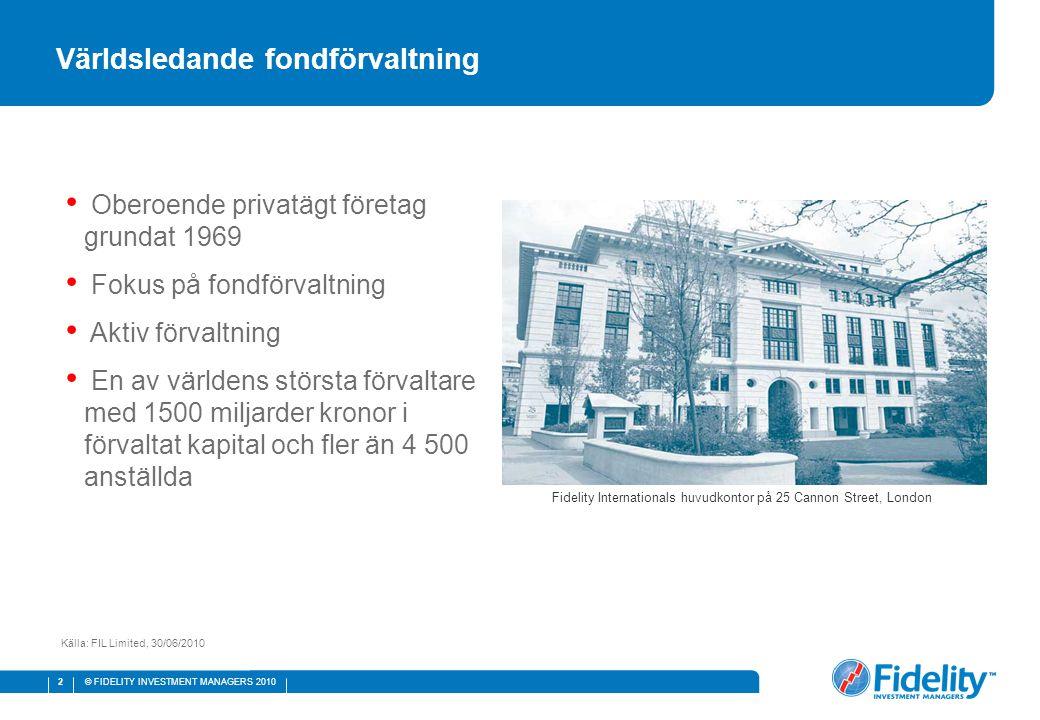 © FIDELITY INVESTMENT MANAGERS 2010 3 Globala analysresurser Källa: FIL Limited och FMR LLC data per den 30 juni 2010.