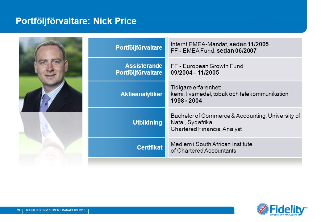 © FIDELITY INVESTMENT MANAGERS 2010 24 Portföljförvaltare: Nick Price Portföljförvaltare Internt EMEA-Mandat, sedan 11/2005 FF - EMEA Fund, sedan 06/2