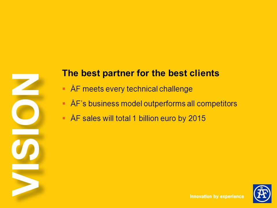 The best partner for the best clients  ÅF meets every technical challenge  ÅF's business model outperforms all competitors  ÅF sales will total 1 billion euro by 2015 VISION