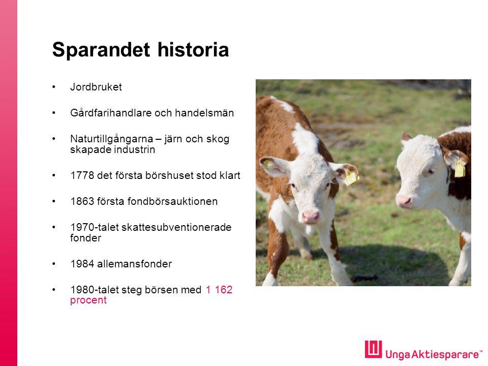 Sparandet historia Jordbruket Gårdfarihandlare och handelsmän Naturtillgångarna – järn och skog skapade industrin 1778 det första börshuset stod klart
