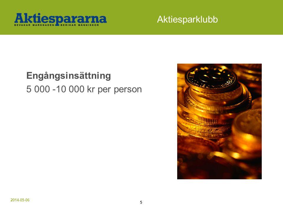 2014-09-06 6 Aktiesparklubb Engångsinsättning och månadsinsättning 5 000 -10 000 kr per person + 100 - 500 kr per person och månad