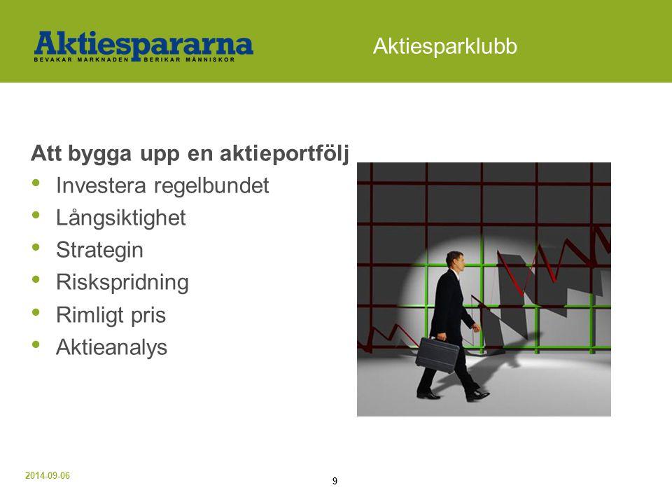 2014-09-06 9 Aktiesparklubb Att bygga upp en aktieportfölj Investera regelbundet Långsiktighet Strategin Riskspridning Rimligt pris Aktieanalys