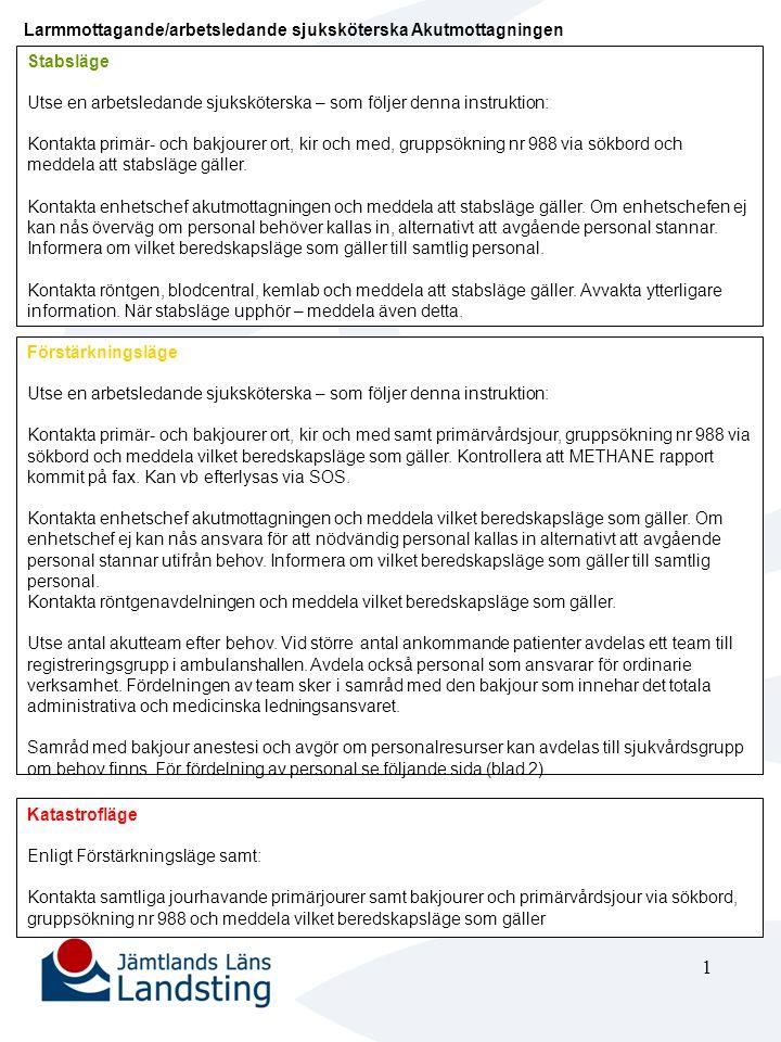 1 Larmmottagande/arbetsledande sjuksköterska Akutmottagningen Stabsläge Utse en arbetsledande sjuksköterska – som följer denna instruktion: Kontakta p