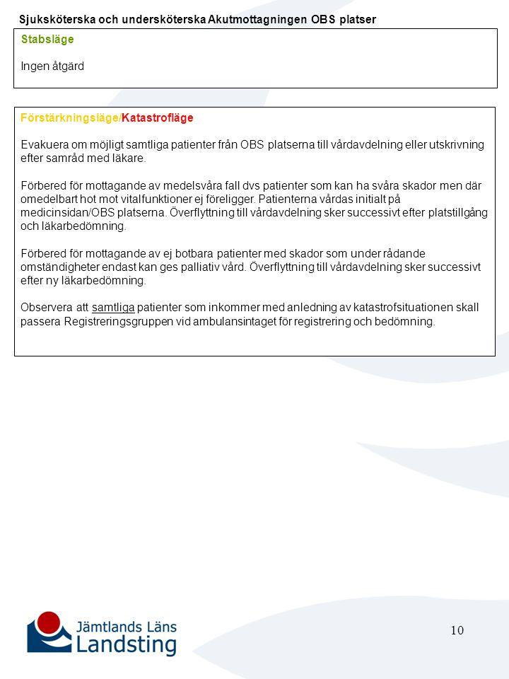 10 Sjuksköterska och undersköterska Akutmottagningen OBS platser Stabsläge Ingen åtgärd Förstärkningsläge/Katastrofläge Evakuera om möjligt samtliga p