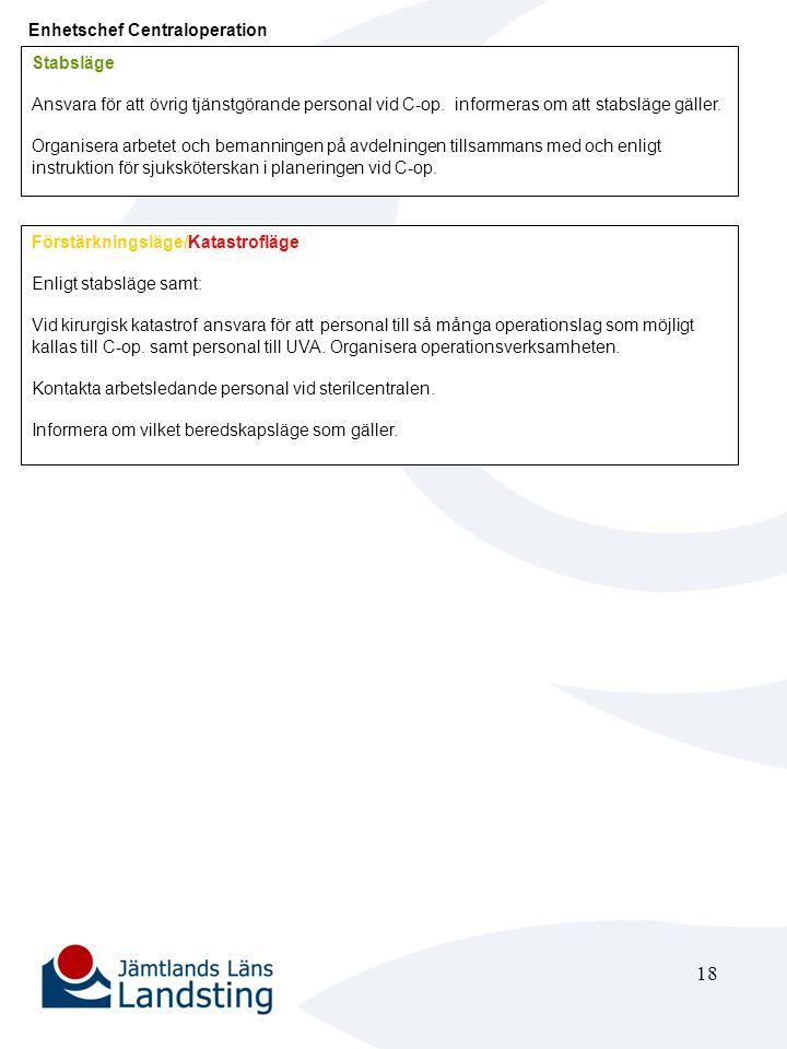 18 Enhetschef Centraloperation Stabsläge Ansvara för att övrig tjänstgörande personal vid C-op. informeras om att stabsläge gäller. Organisera arbetet