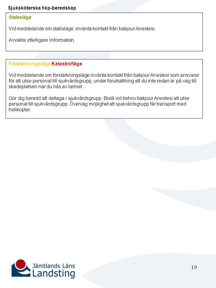 19 Sjuksköterska hkp-beredskap Stabsläge Vid meddelande om stabsläge, invänta kontakt från bakjour Anestesi. Avvakta ytterligare information. Förstärk