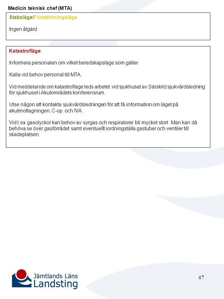 47 Medicin teknisk chef (MTA) Stabsläge/Förstärkningsläge Ingen åtgärd Katastrofläge Informera personalen om vilket beredskapsläge som gäller. Kalla v