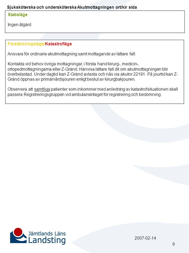 Sjuksköterska och undersköterska Akutmottagningen ort/kir sida Stabsläge Ingen åtgärd Förstärkningsläge/Katastrofläge Ansvara för ordinarie akutmottagning samt mottagande av lättare fall.