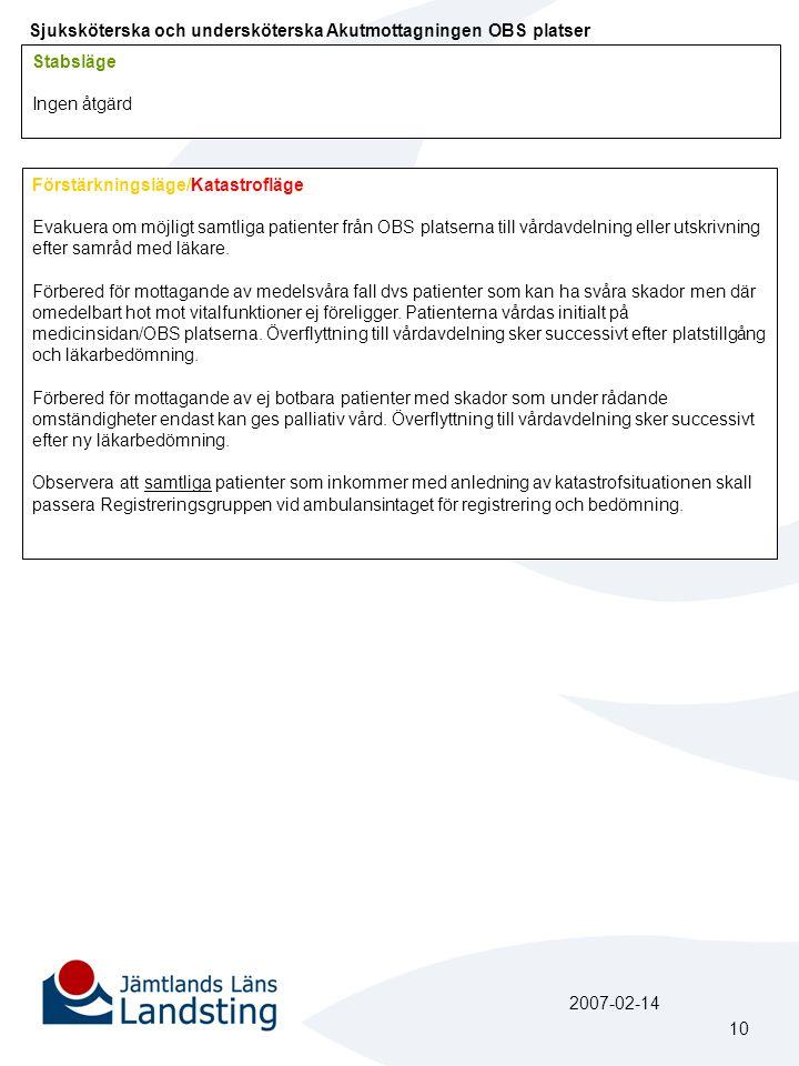 Sjuksköterska och undersköterska Akutmottagningen OBS platser Stabsläge Ingen åtgärd Förstärkningsläge/Katastrofläge Evakuera om möjligt samtliga pati