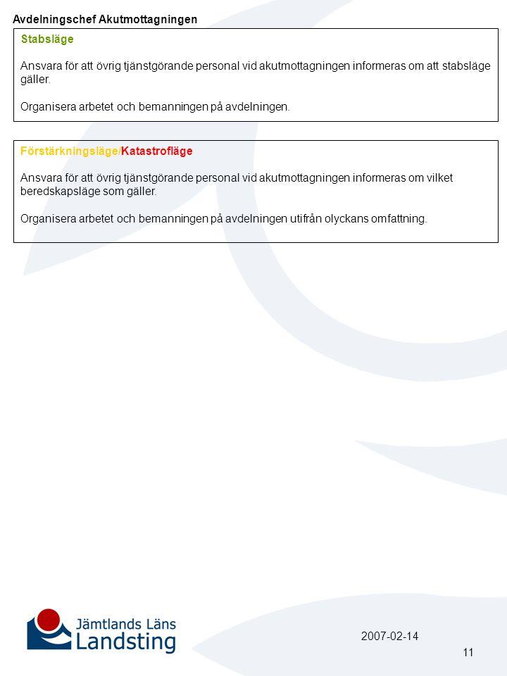 Avdelningschef Akutmottagningen Stabsläge Ansvara för att övrig tjänstgörande personal vid akutmottagningen informeras om att stabsläge gäller. Organi