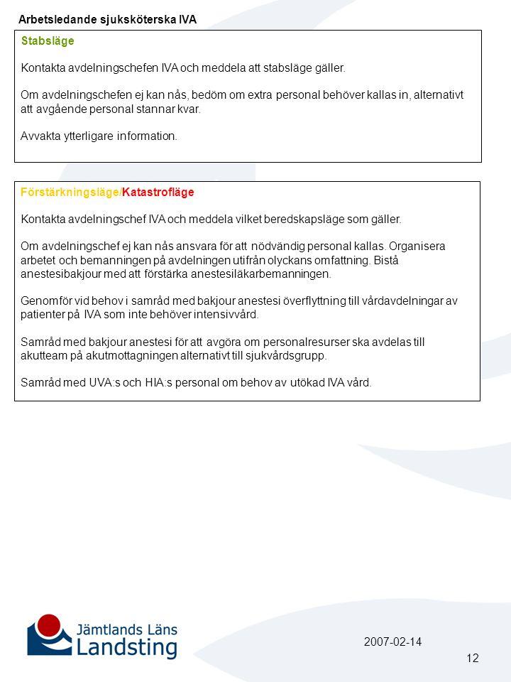 Arbetsledande sjuksköterska IVA Stabsläge Kontakta avdelningschefen IVA och meddela att stabsläge gäller.