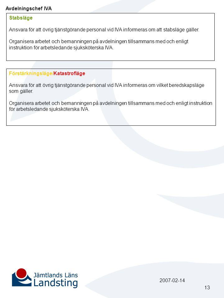 Avdelningschef IVA Stabsläge Ansvara för att övrig tjänstgörande personal vid IVA informeras om att stabsläge gäller. Organisera arbetet och bemanning