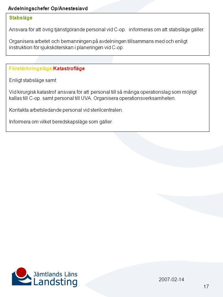 Avdelningschefer Op/Anestesiavd Stabsläge Ansvara för att övrig tjänstgörande personal vid C-op. informeras om att stabsläge gäller. Organisera arbete