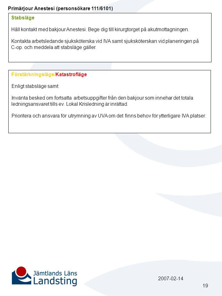 Primärjour Anestesi (personsökare 111/6101) Stabsläge Håll kontakt med bakjour Anestesi. Bege dig till kirurgtorget på akutmottagningen. Kontakta arbe