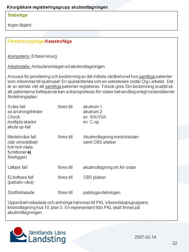 Kirurgläkare registreringsgrupp akutmottagningen Förstärkningsläge/Katastrofläge Kompetens: Erfaren kirurg Arbetsställe: Ambulansintaget vid akutmotta