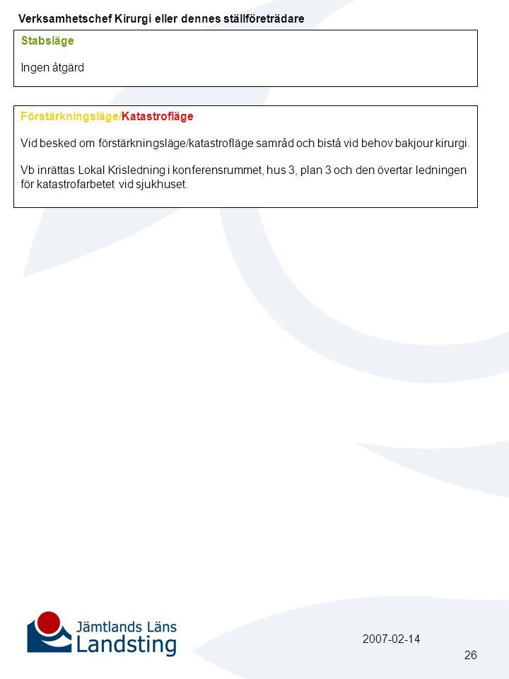 Verksamhetschef Kirurgi eller dennes ställföreträdare Stabsläge Ingen åtgärd Förstärkningsläge/Katastrofläge Vid besked om förstärkningsläge/katastrof